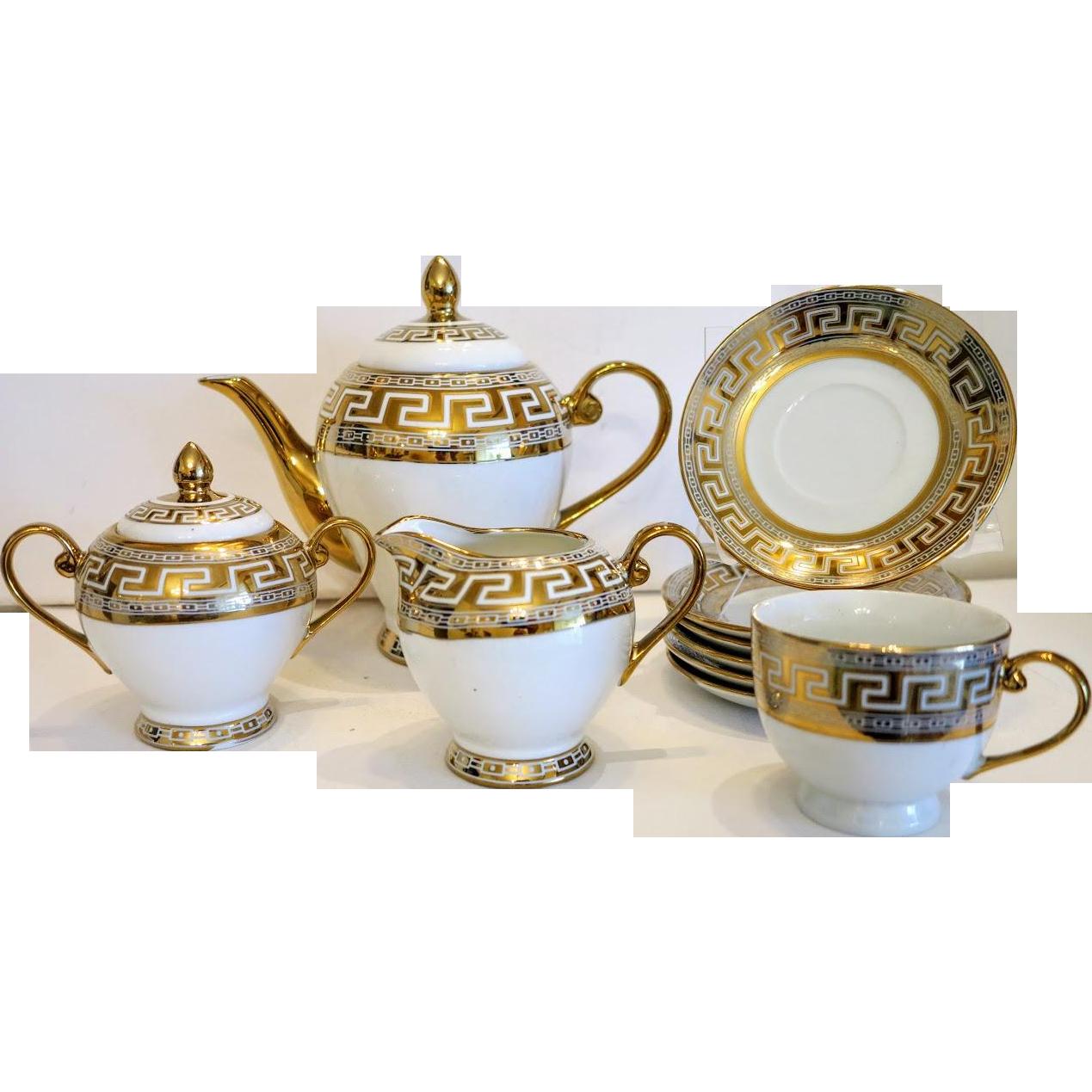 Russian Porcelain Tea Set For Four Ca 1950 Mid 20th Century Porcelain Teapot Sugar Creamer Cups Saucers In White An Porcelain Tea Set Tea Set Porcelain