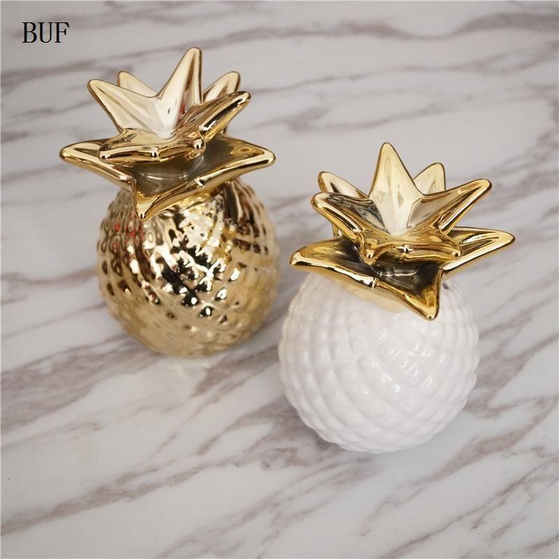 Creative Ceramic Pineapple Piggy Bank Coin Bank Saving Money Box Kids Gift Gold