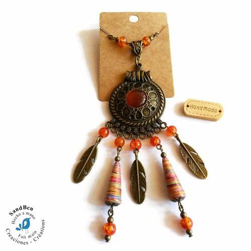 Long collier bronze ethnique fait main plumes perles en papier cabochon orange collier perles sautoir collier plumes idée cadeau femme collier chaîne gros pendentif