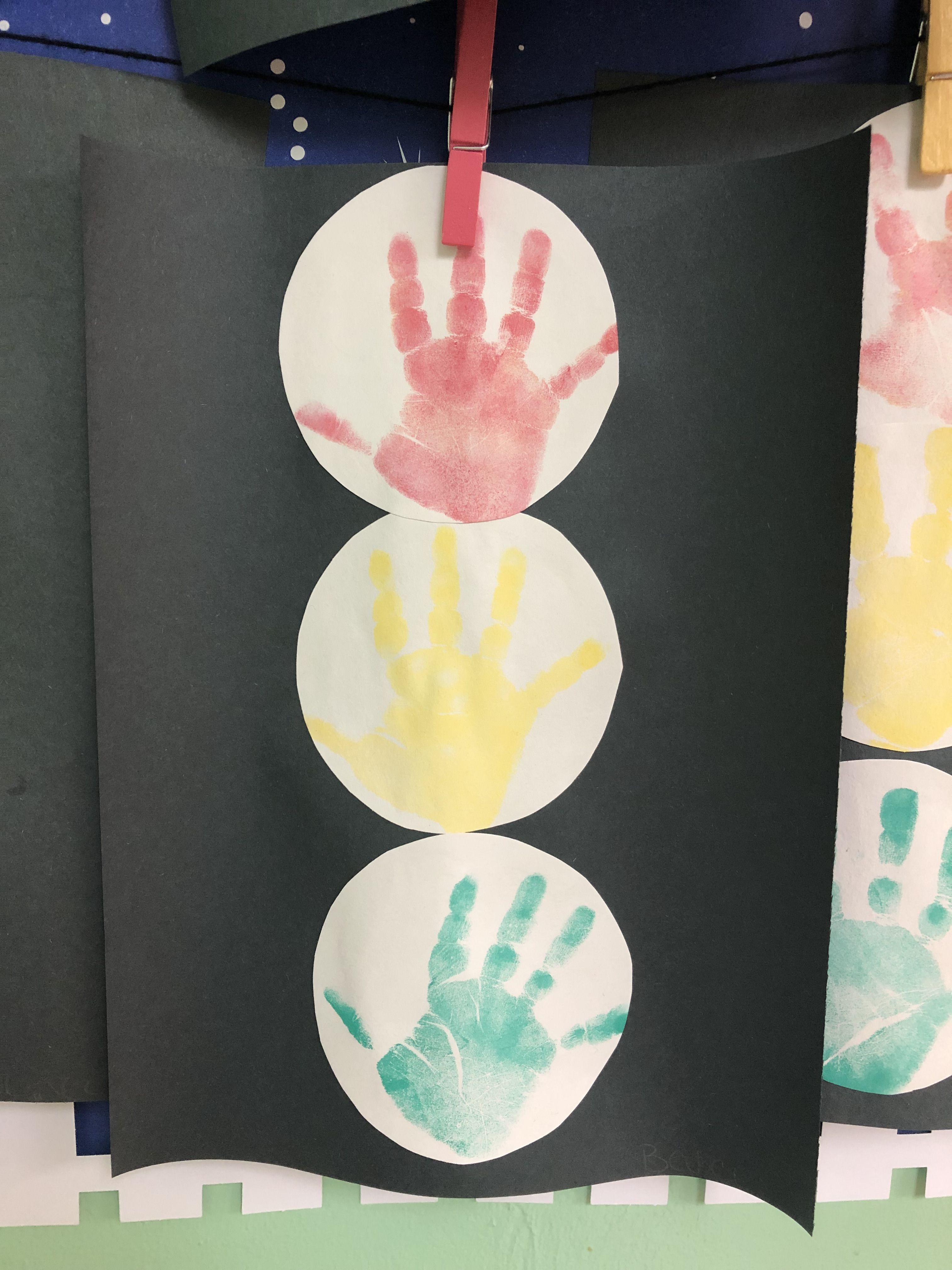 Stop Light With Handprint