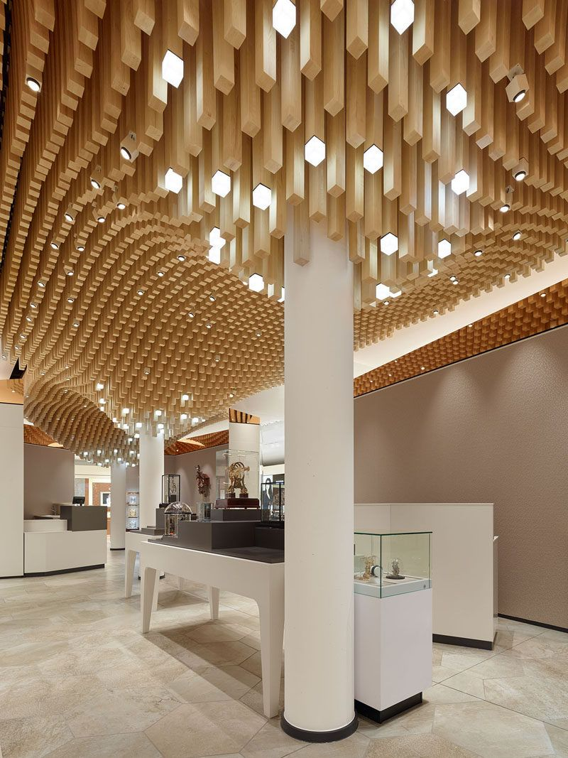 Modern ceiling design idea 4362 square wooden dowels for Shop ceiling design