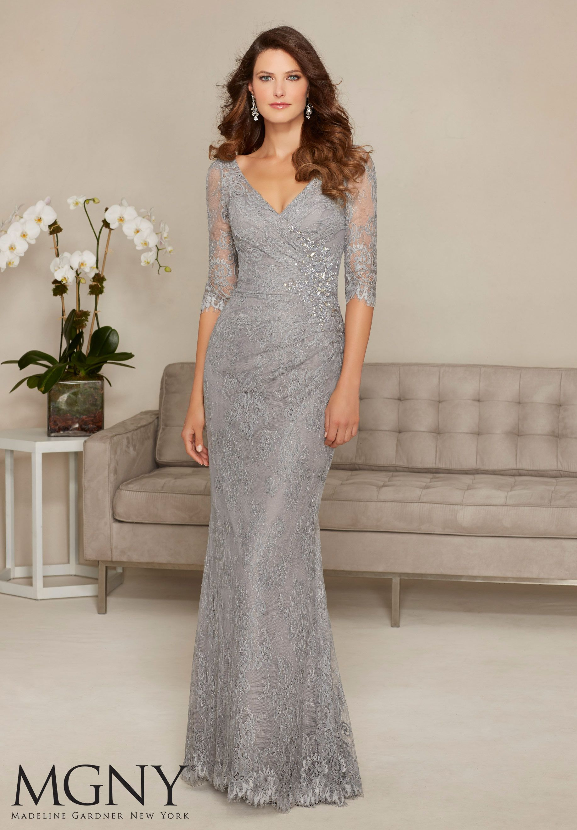 57bd9eb8f5f Evening Gowns and Mother of the Bride Dresses by MGNY Allover Lace with  Beaded Appliqué Colors