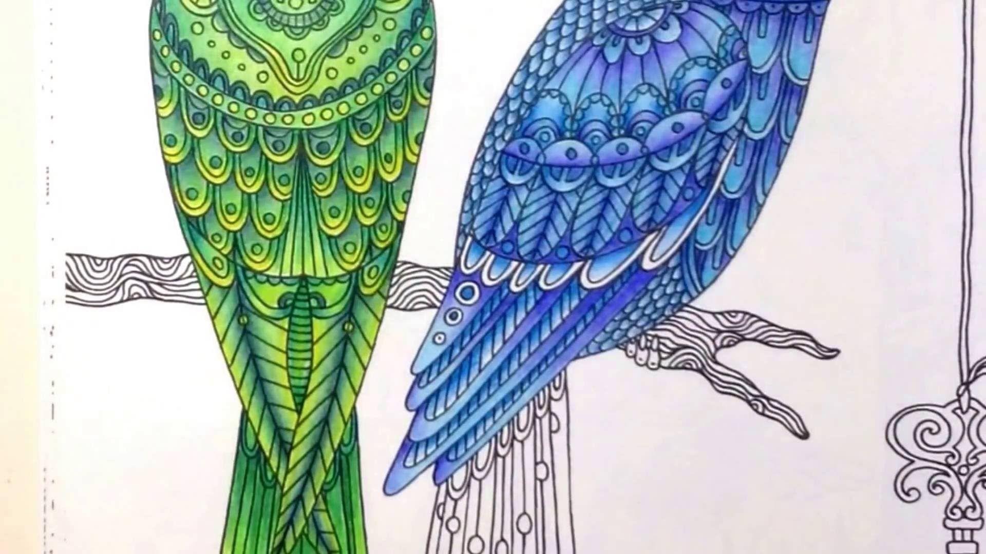 Dagdrömmar/daydreams - coloring a blue bird - part 2 - realtime coloring