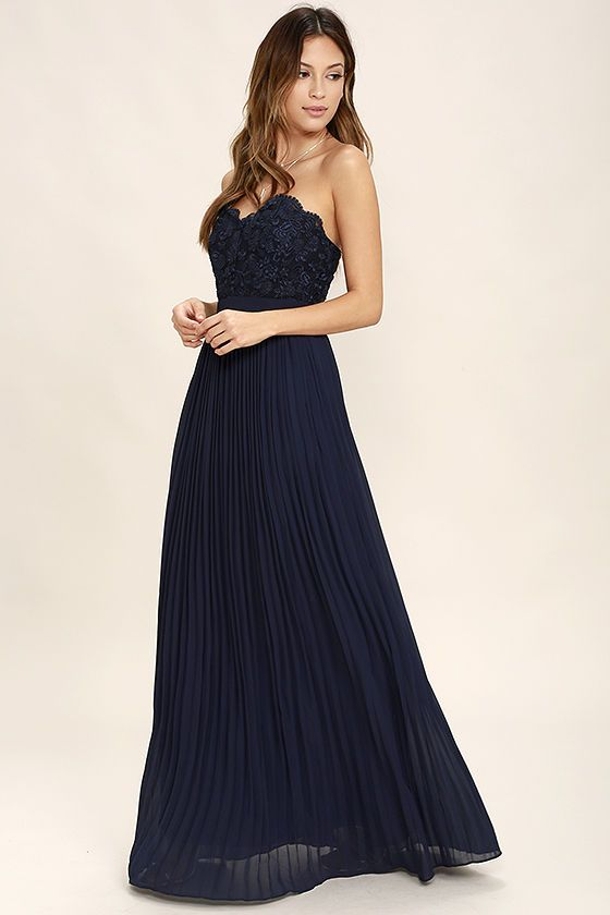 885875623fcd Special Day Navy Blue Lace Strapless Maxi Dress | Strapless maxi, Scalloped  lace and Lace trim