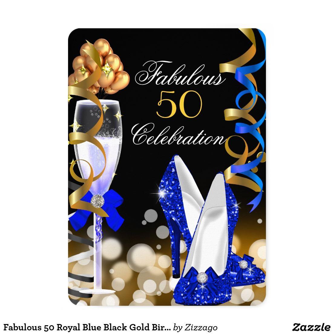 Fabulous 50 Royal Blue Black Gold Birthday Party Invitation