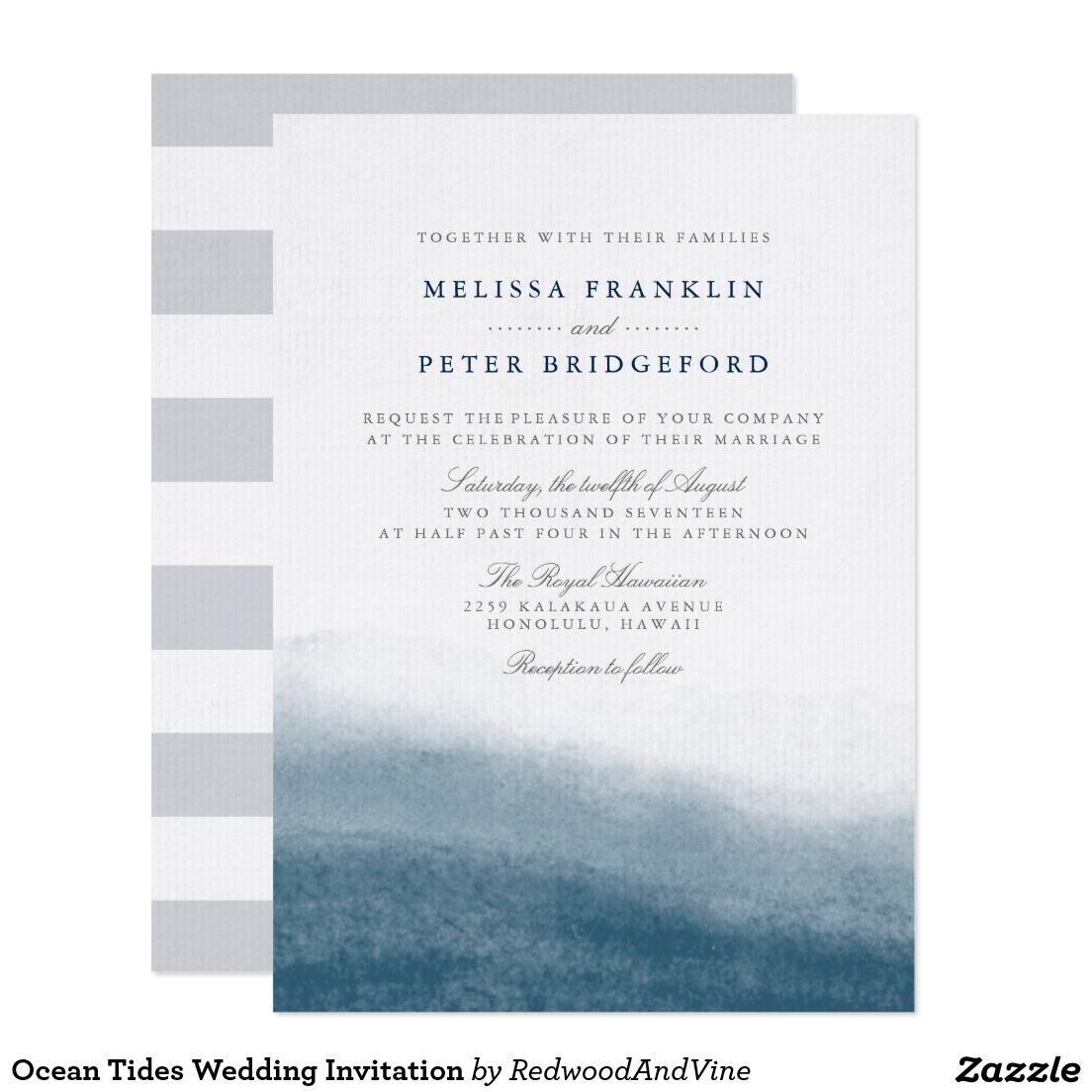 Ocean Tides Wedding Invitation | Zazzle | Pinterest | Zazzle invitations
