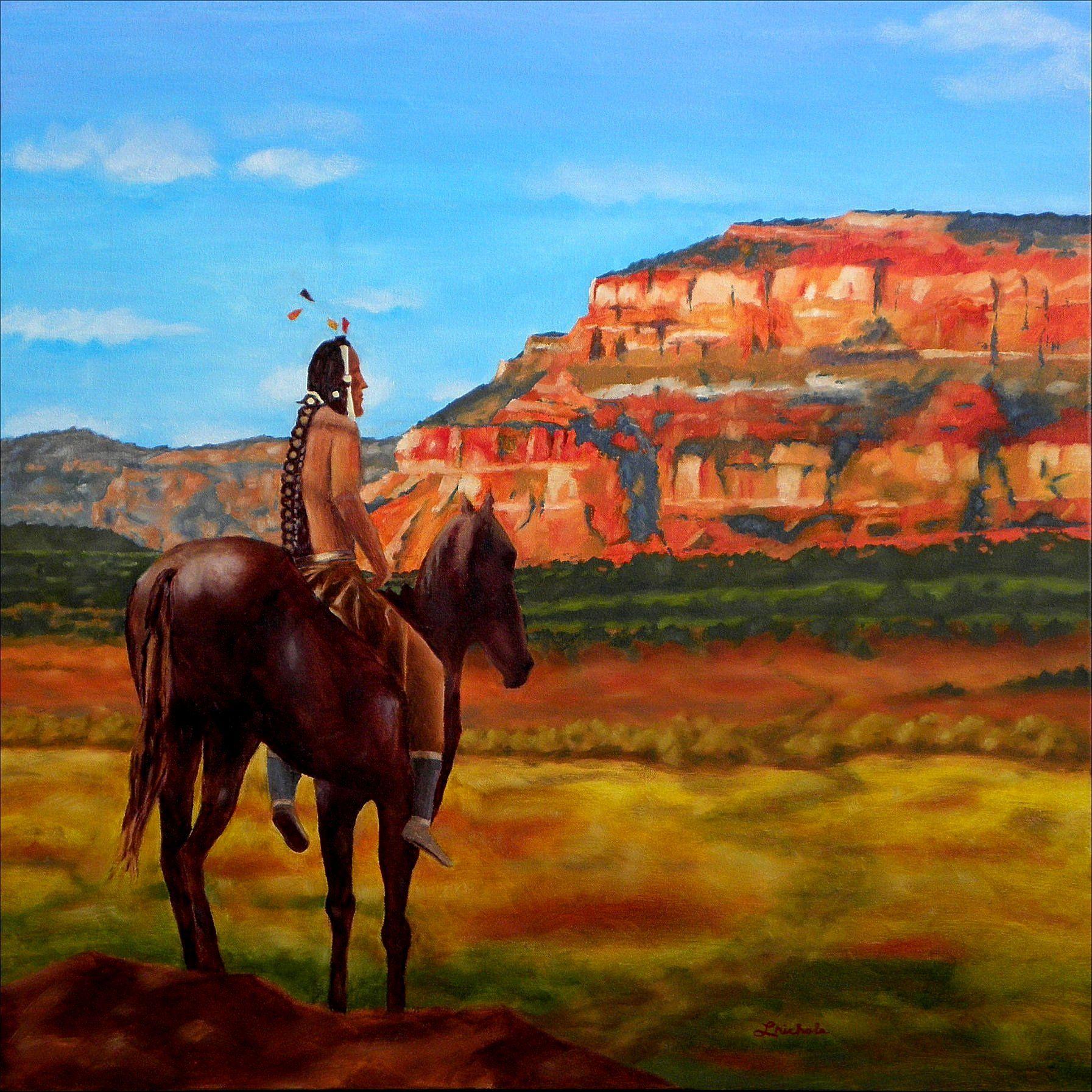Lookout Oil Painting Lynn Nichols Western Art