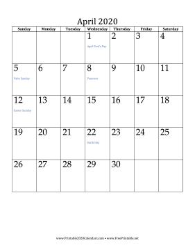 Printable April 2020 Calendar Vertical Monthly Calendar