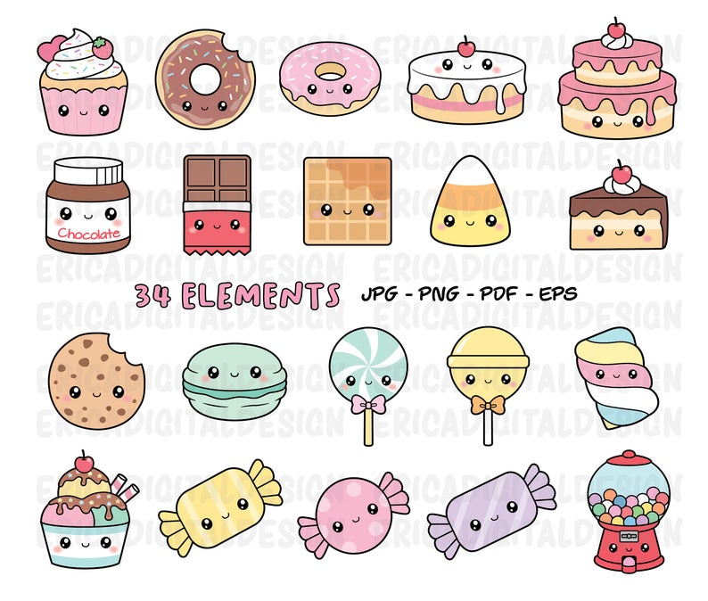 Kawaii Sweets Clipart Cute Sweet Candy Clipart Food Cake Donut Cupcake Gumball Machine Macaron Candies Cookie Ice Cream Muffin Dessert Party Cute Food Drawings Kawaii Sweets Kawaii Clipart