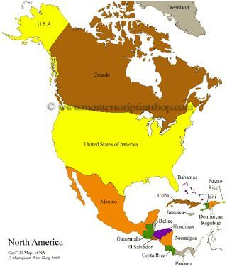 North America Control Maps Blank Colored Labeled Maps Of North