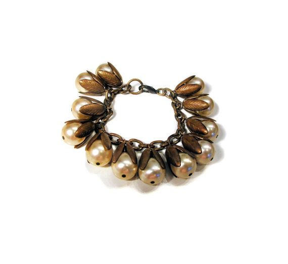 40s Miriam Haskell Bracelet Pearl Bead Charm by MorningGlorious