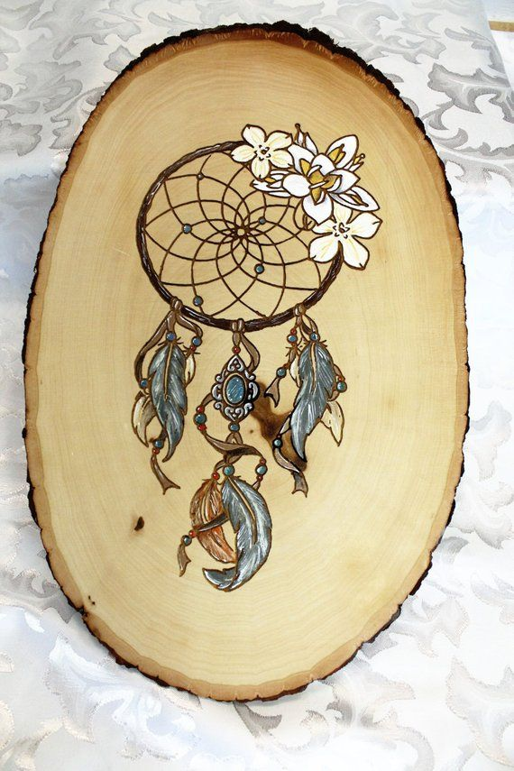 Wood Burned Wood Slice Hand Painted Dream Catcher