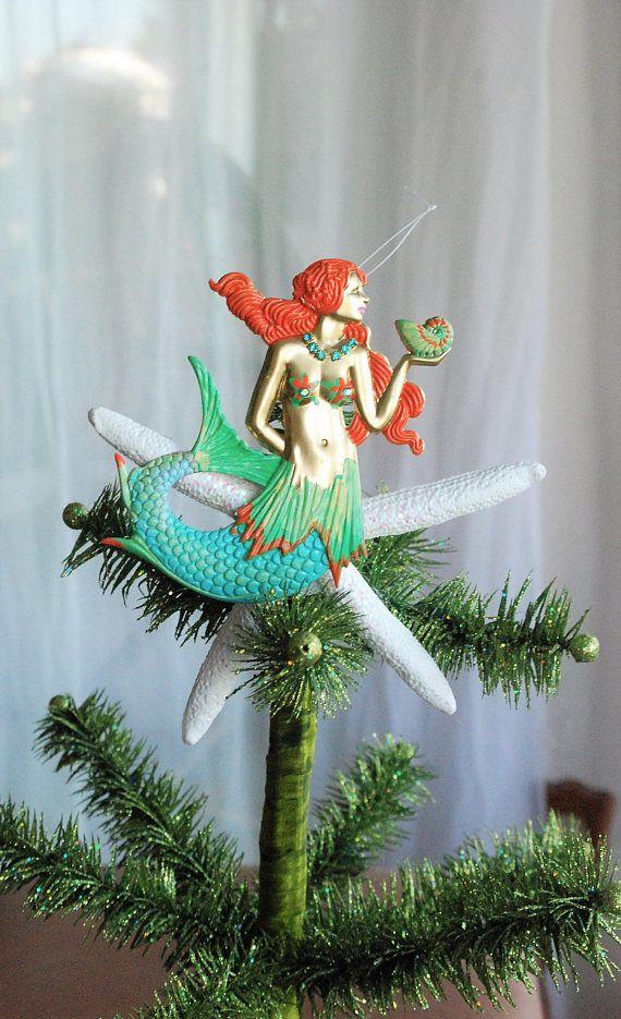 Mermaid Tree Topper, Nautical Tree Topper, Beach Tree topper, Starfish Tree  Topper - Gold And Blue Mermaid Tree Topper,Coastal Ornament,Nautical Tree