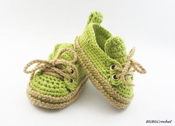 Green Baby Sneakers, häkeln Baby Sneakers, häkeln Baby Booties ...