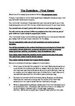 Outsiders  Summative Task  Literary Essay  Summative Assessment