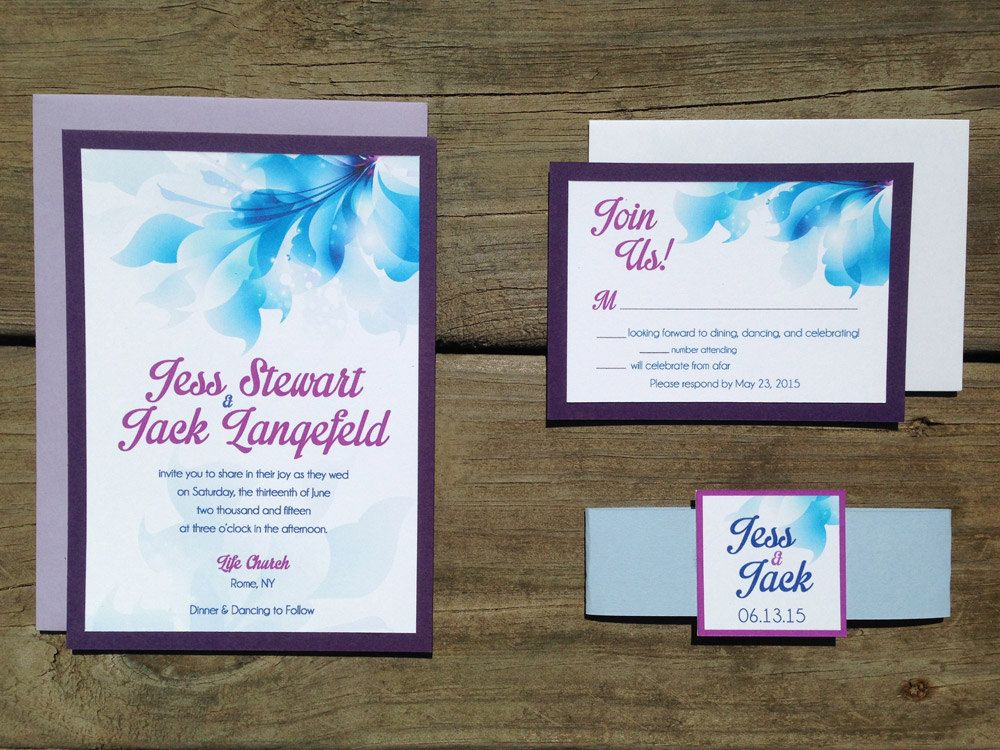 Blue Orchid Wedding Invitations: Watercolor Purple Orchid & Blue Hibiscus 5X7 Wedding By