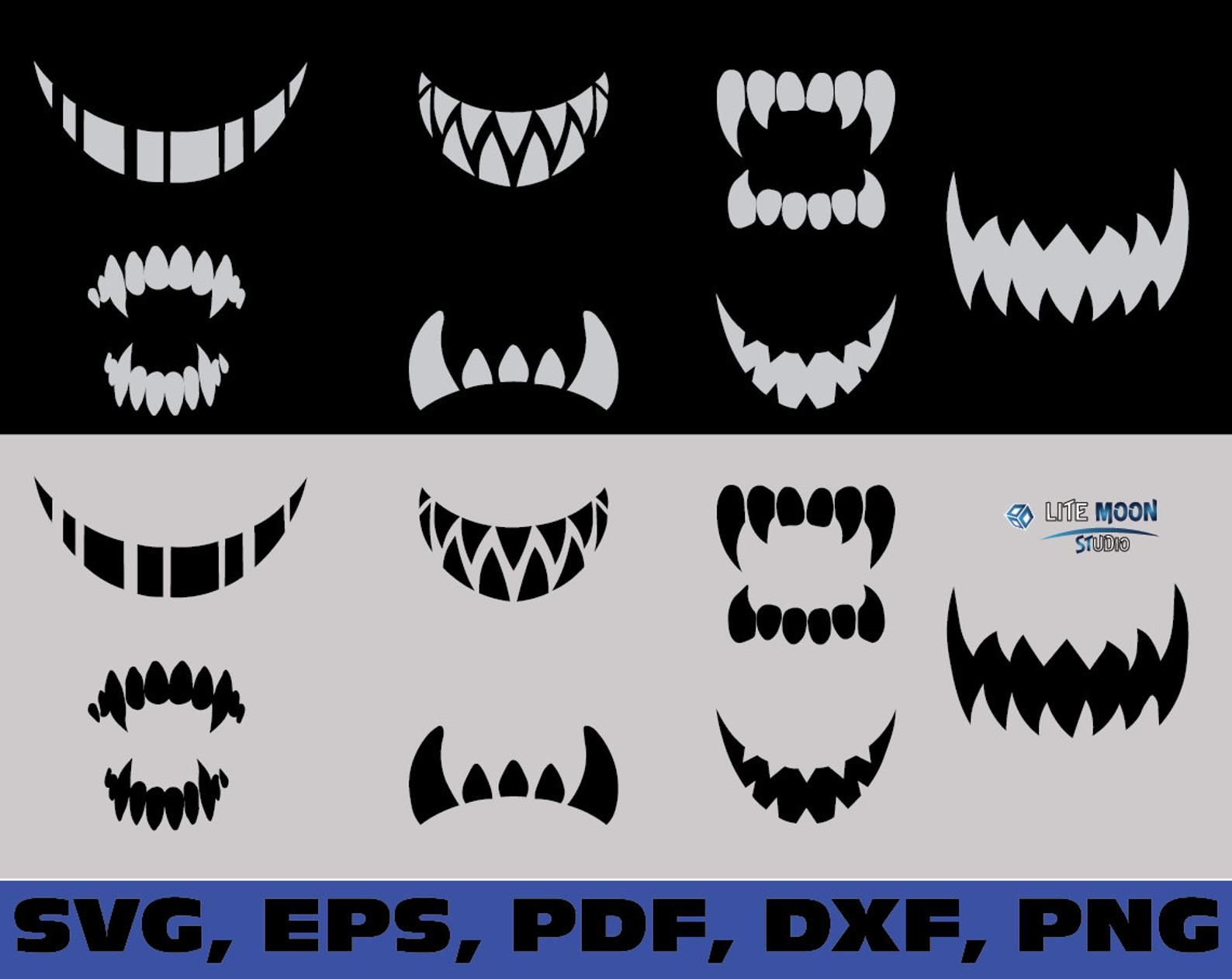 Scary Fangs And Teeth Svg Custom Face Mask Svg Scary Mouth Etsy Face Stencils Scary Faces Halloween Silhouettes