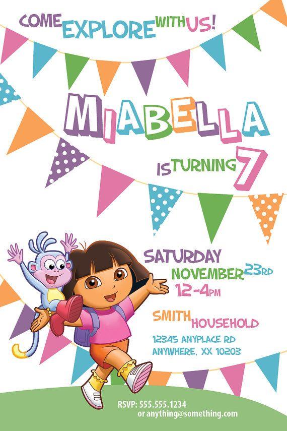 Dora The Explorer Theme - Birthday Invitation- DIY Printable ...