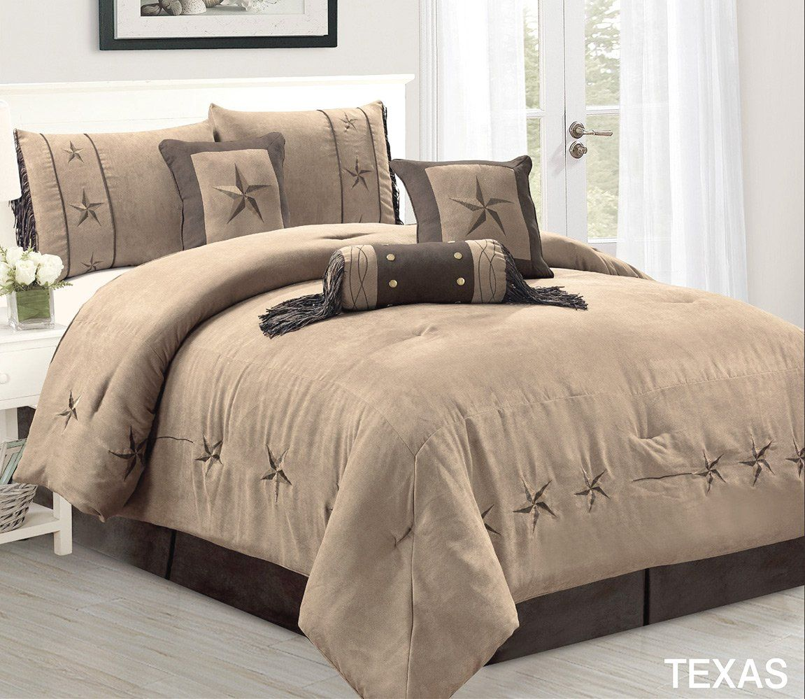 5 Piece Taupe/Brown/Gold Bedding RUSTIC TEXAS Lone Star