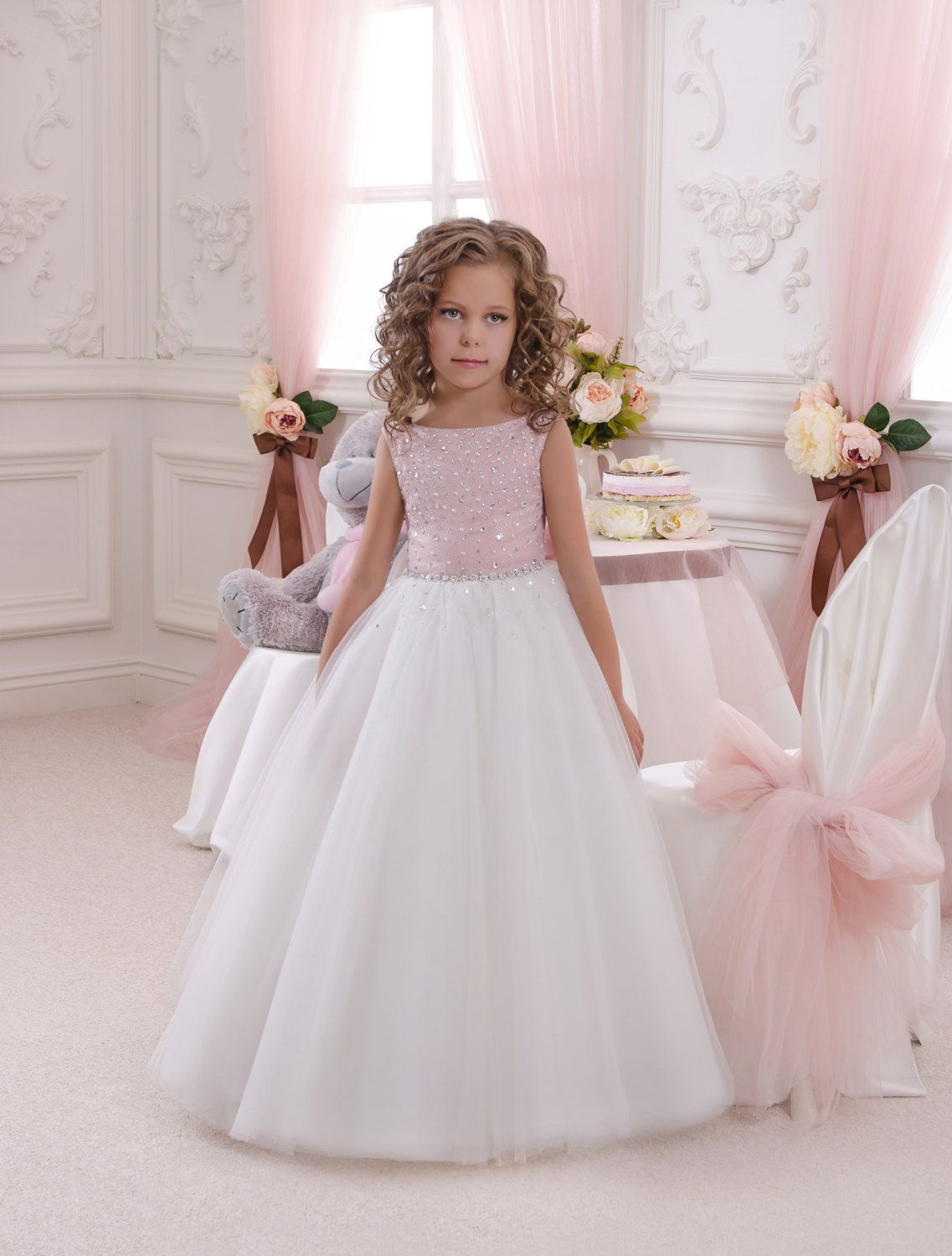 Pink And Ivory Flower Girl Dress Holiday Bridesmaid Birthday
