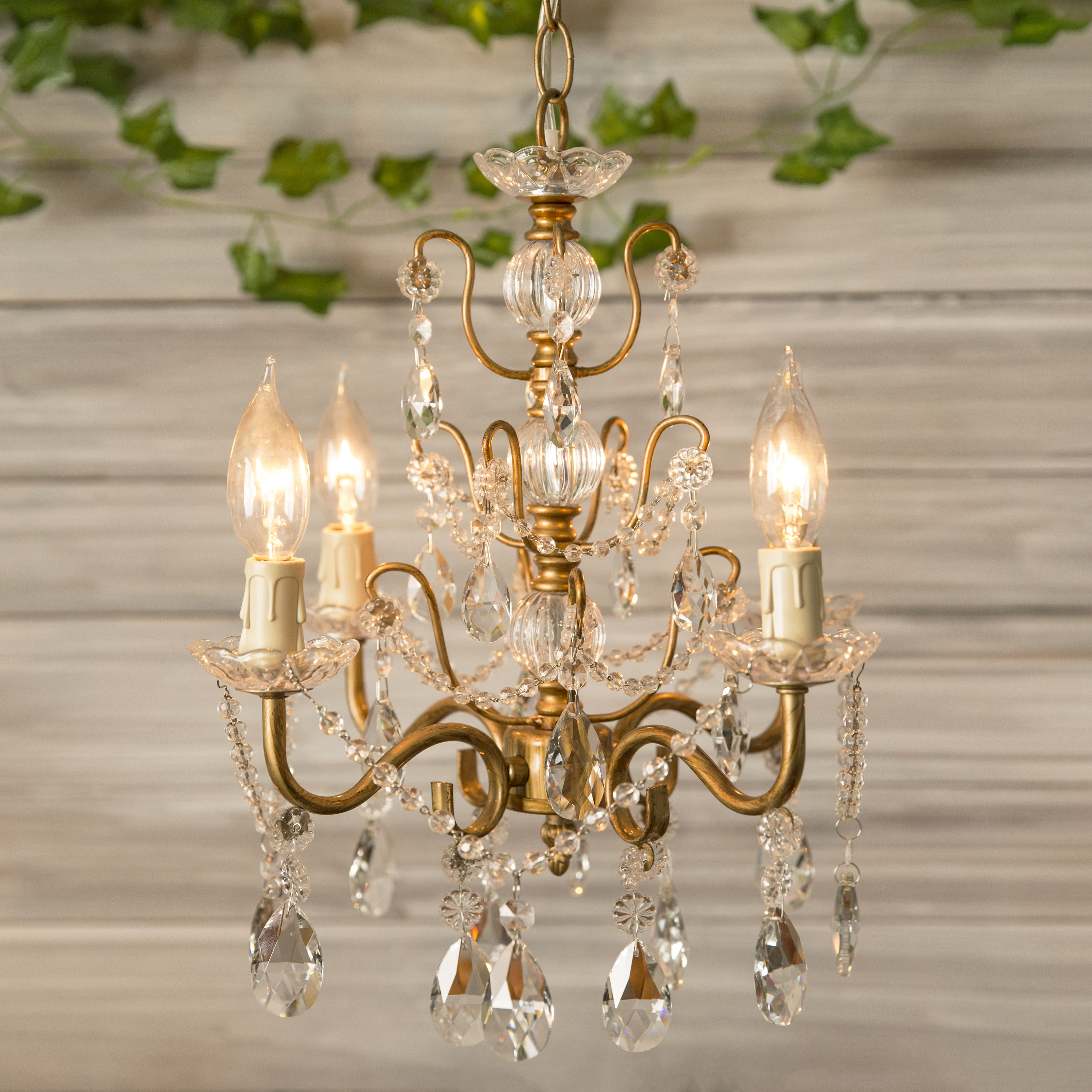 4 Light Shabby Chic Crystal Plug In Chandelier Gold Candle
