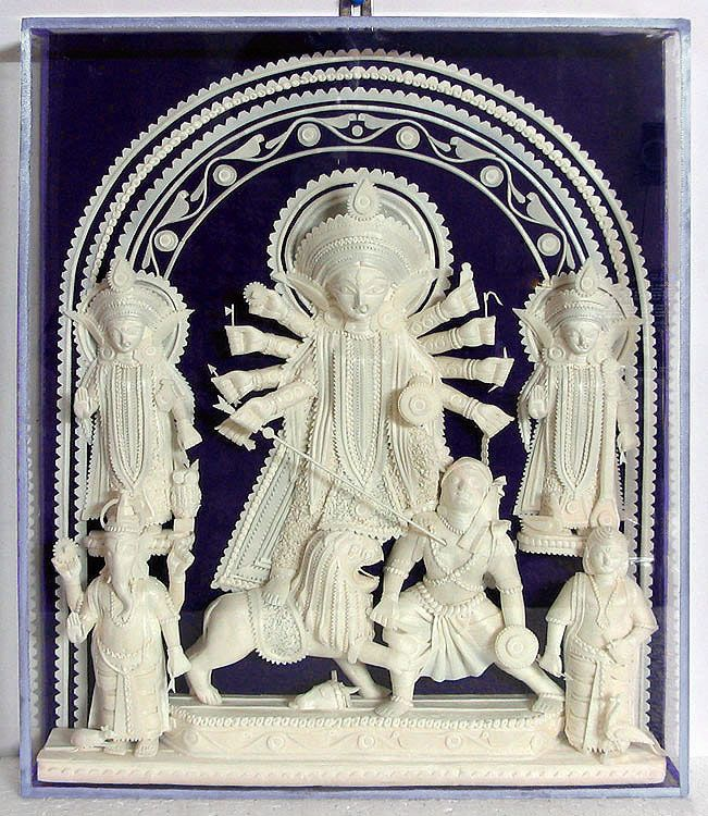 Durga with Her Family - Wall Hanging (Shola Pith))