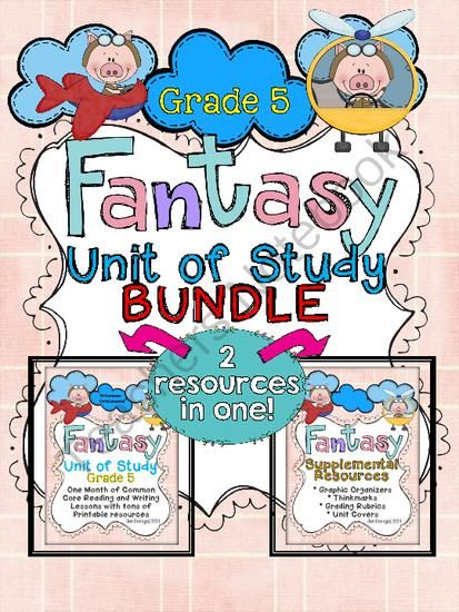 Fantasy Unit of Study: Grade 5 BUNDLE from Jen Bengel on TeachersNotebook.com -  (158 pages)  - This bundle includes everything you need to teach and assess for a month long unit of study on fantasy in the reading and writing workshops! There are 40 CCSS detailed lessons, chart examples, printable graphic organizers and thinkmarks for every reading