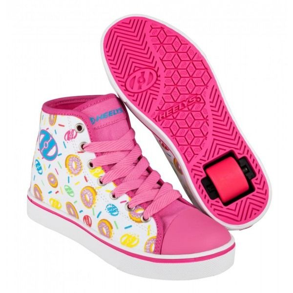 Pink Glitter//White Heelys Veloz 1 Wheel Kids//Girls Wheel Shoes