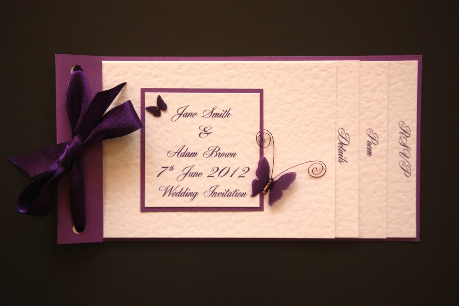 Wedding Invitations Pintrest: HANDMADE WEDDING INVITATIONS ~BUTTERFLY CHEQUE BOOK STYLE