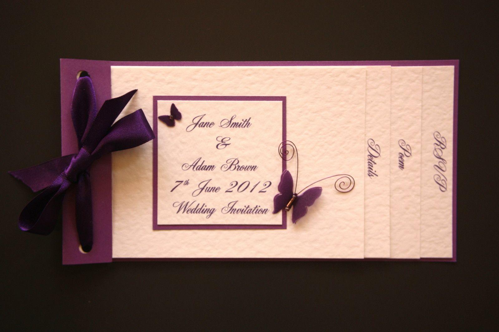 Wedding Invitation Ideas Pinterest: HANDMADE WEDDING INVITATIONS ~BUTTERFLY CHEQUE BOOK STYLE