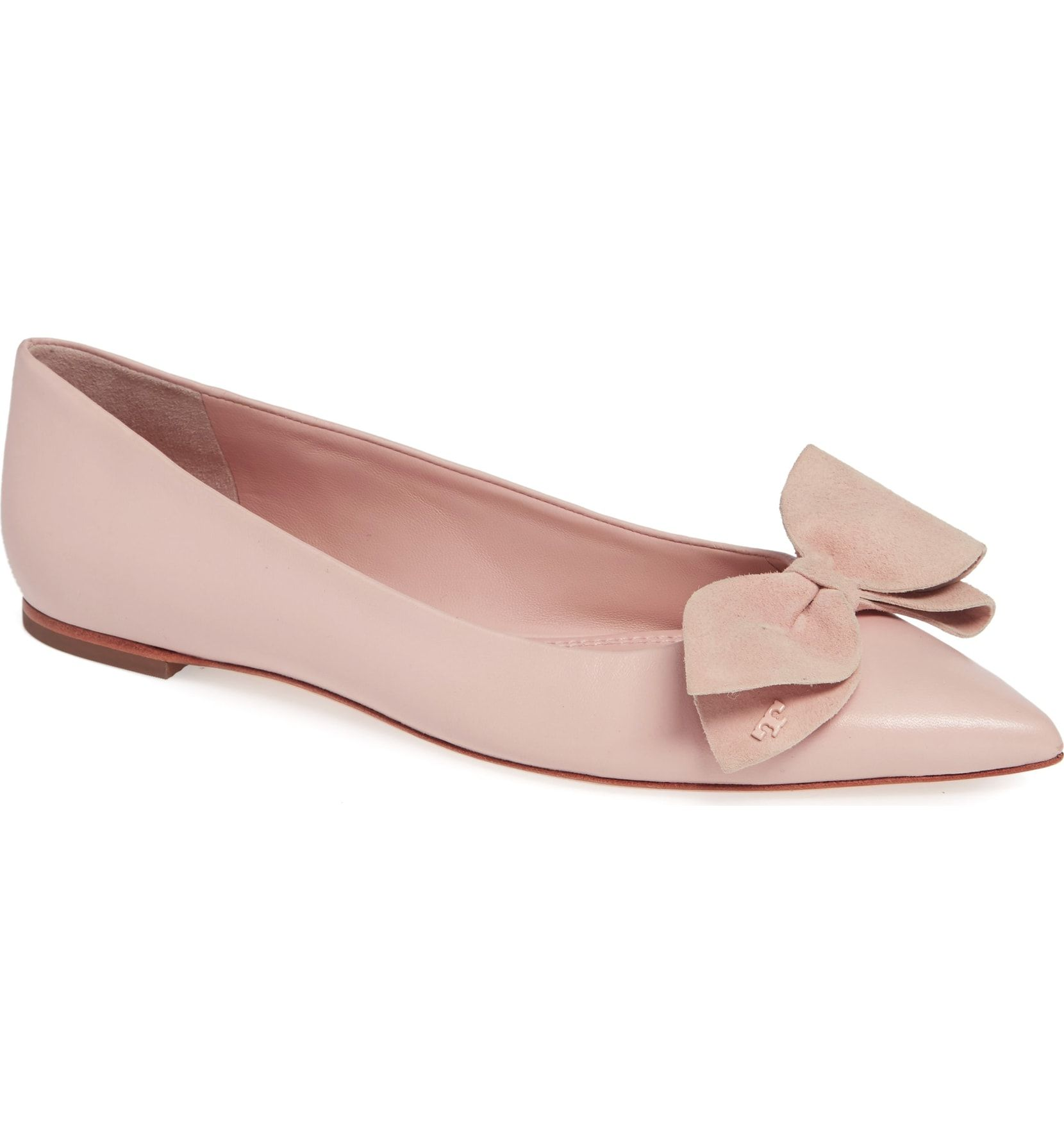 cdc00852771 Tory Burch Rosalind Bow Pointy Toe Flat - Sea Shell Pink