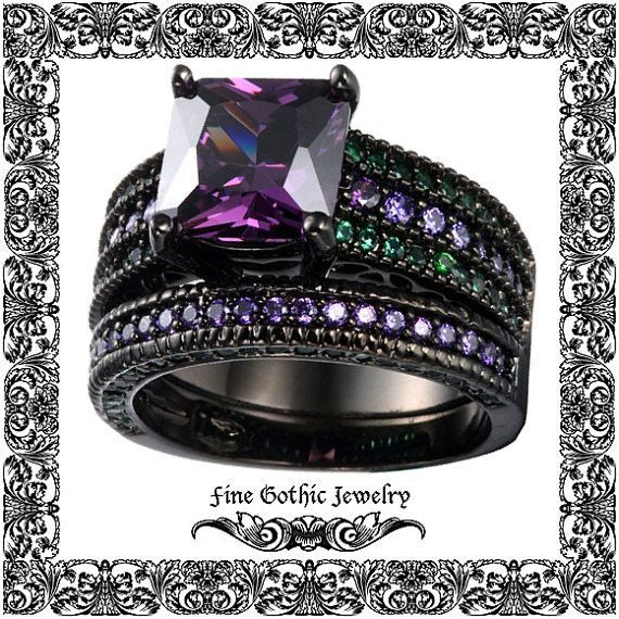 Gothic Wedding Rings Black Ring 2ct Purple Princess Diamond Cz Pave Set