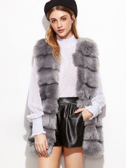 0058404261 Grey Faux Fur Vest