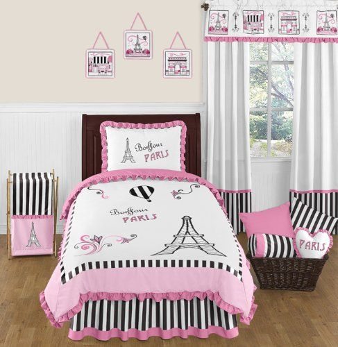 Pink, Black and White Stripe Paris 4 Piece Childrens and Kids Twin ...