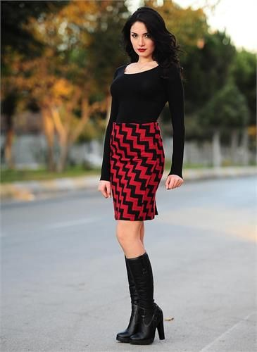 Bayan Kaşe Etek Z Desen Kırmızı