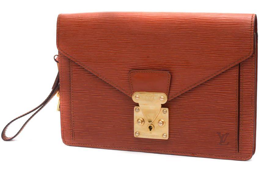 Louis Vuitton Sellier Dragonne Brown Epi Leather Clutch