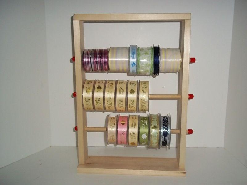 Wood Storage Rack Spool Ribbon Sticker Organizer Holder Wood