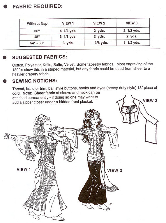 AF22 - Al-zahras Ghawazee Coat (Belly Dance) Sewing Pattern by ...