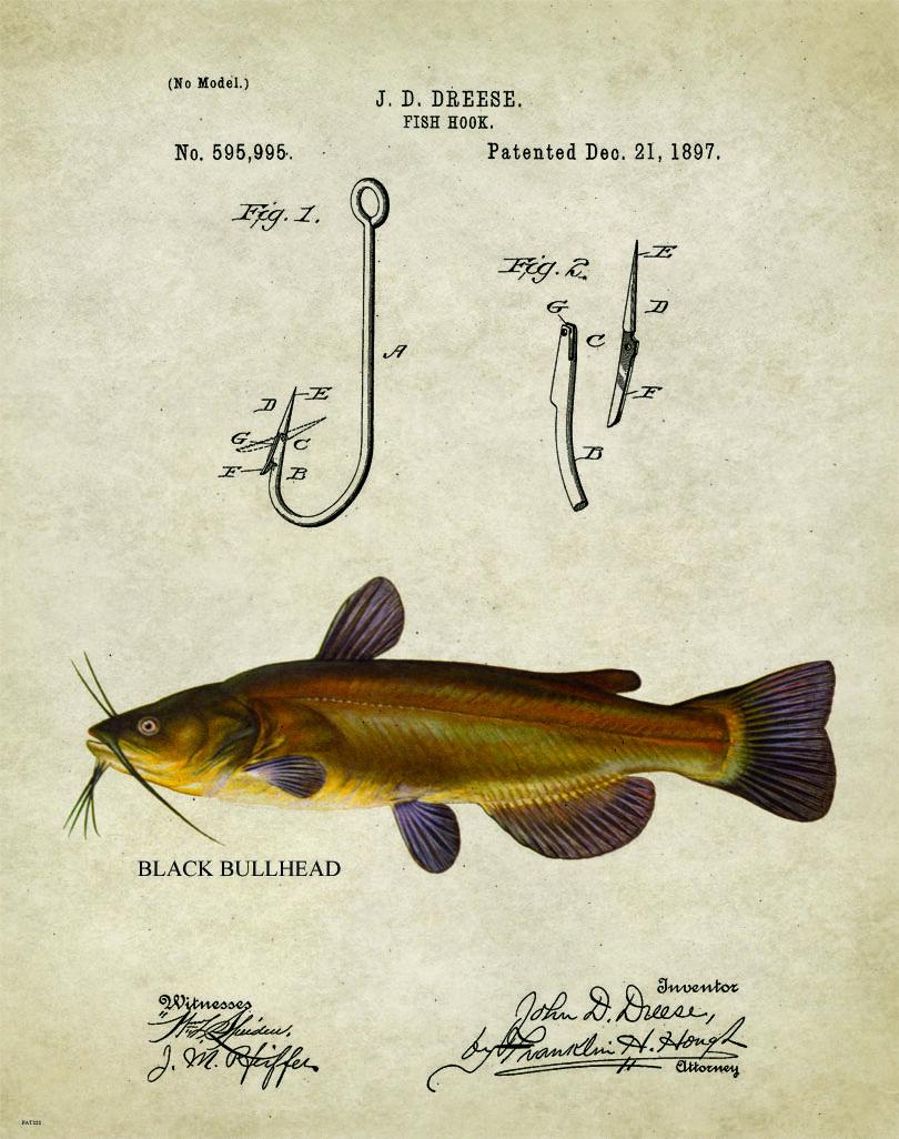 Fishing Lure Patent Art Print Vintage Creek Chub Letterhead Cabin Decor PAT500