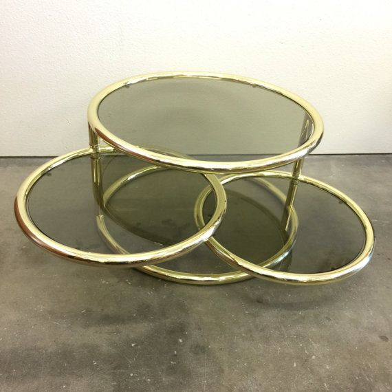 Brass And Glass Coffee Table Three Tiered Swivel Sections Vintage Hollywood  Regency