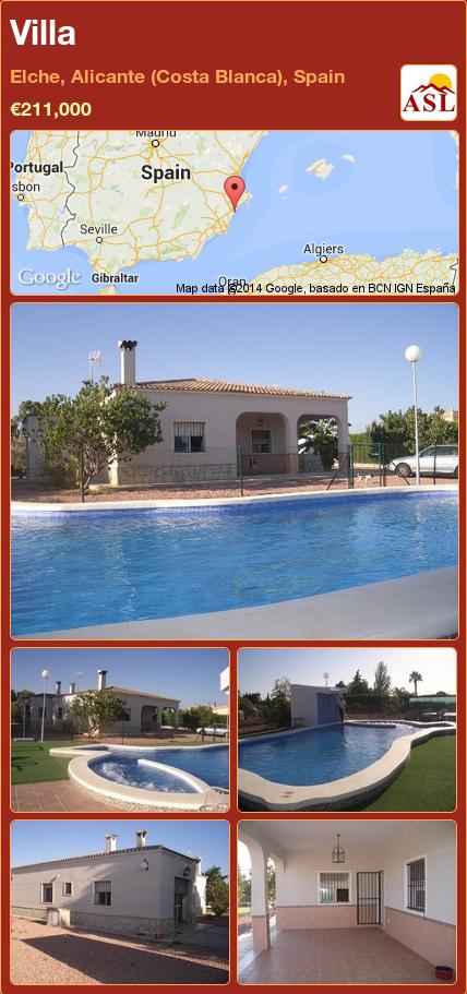 Villa in Elche, Alicante (Costa Blanca), Spain ►€211,000 #PropertyForSaleInSpain