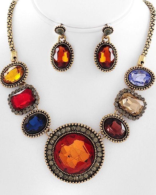 Striking Multi Color Glass & Black Dia Rhinestones Necklace Set Fashion Jewelry #FashionJewelry