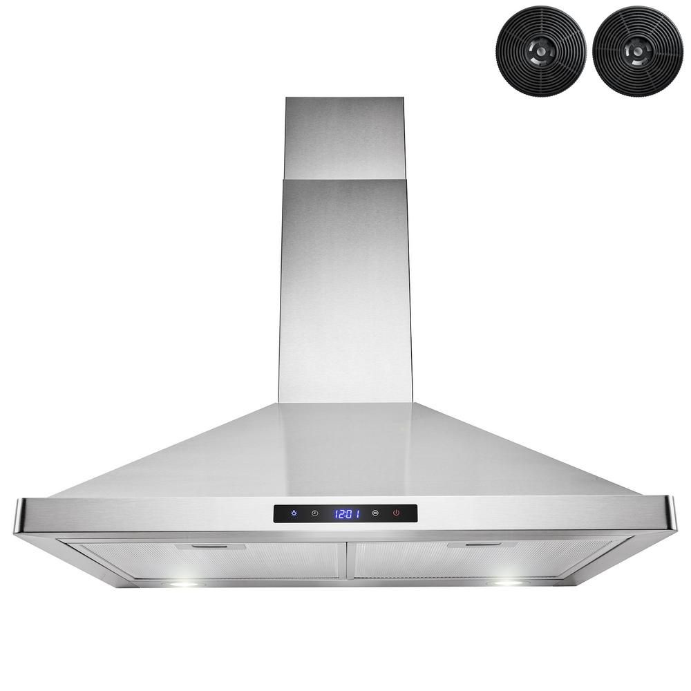 Akdy 30 In Convertible Kitchen Wall Mount Range Hood In Stainless Steel With Leds Touch Control And Carbon Filters Rh0471 The Home Depot Wall Mount Range Hood Range Hood Brushed Stainless Steel