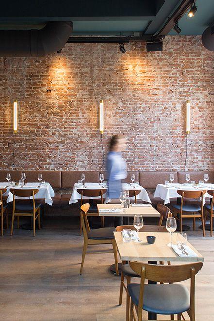 Brass wall lights golden woodpecker restaurant interior