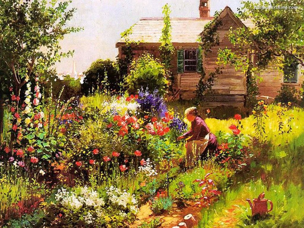 Her beautiful flower garden painting art 4 for Beautiful flower garden pictures