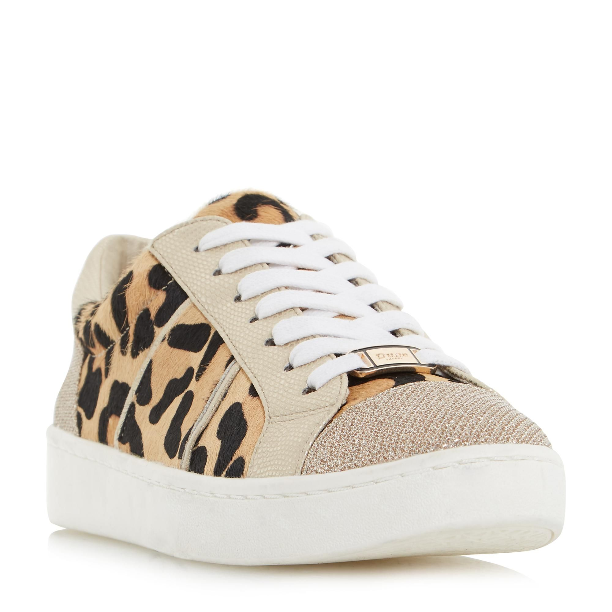 ee90a99149f DUNE LADIES EGYPT - Contrast Panel Lace Up Trainer - leopard