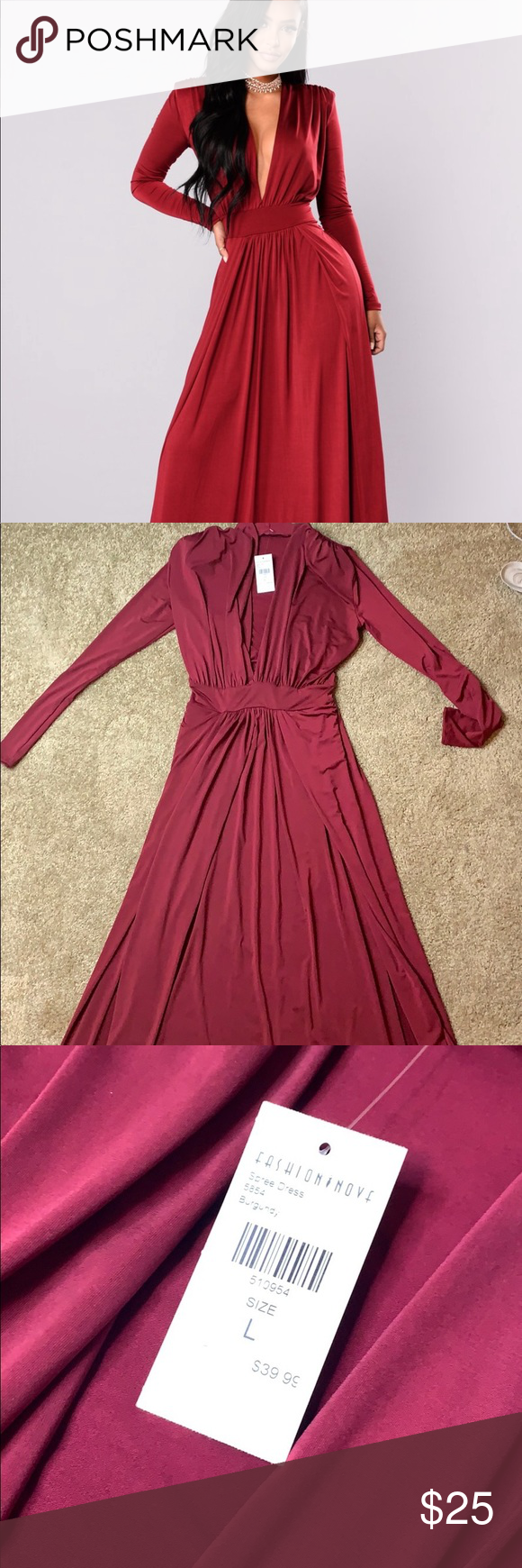 2921396d621 Fashion Nova Evening Gown Size  Large BRAND NEW NEVER WORN long burgundy  evening gown with tags attached. The dress has two slits on each side and a  low cut ...