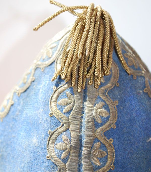 View of the tassle on the hat of an officer in Russian Dragoon Grenadier regiment from the reign of Peter I, circa 1727-1730.