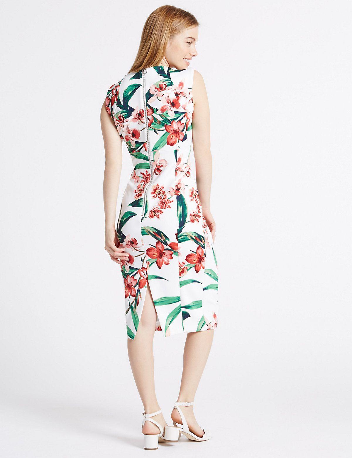c55c45ad4d07 Smudge Floral Print Bodycon Midi Dress