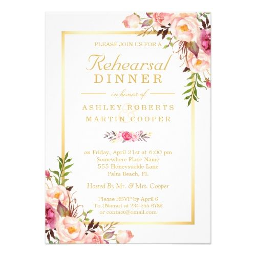 Wedding rehearsal dinner elegant chic gold floral card junglespirit Image collections